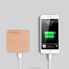 square wooden shell powerbank ultra-thin mobile power bank wood power bank
