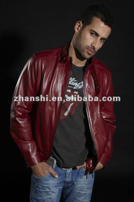 HOT Fashon Red Short Synthetic Leather Jacket