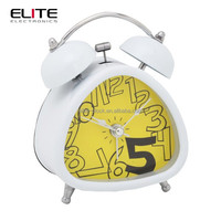 "high quality 3"" triangle double bell silent quartz ce alarm clocks"
