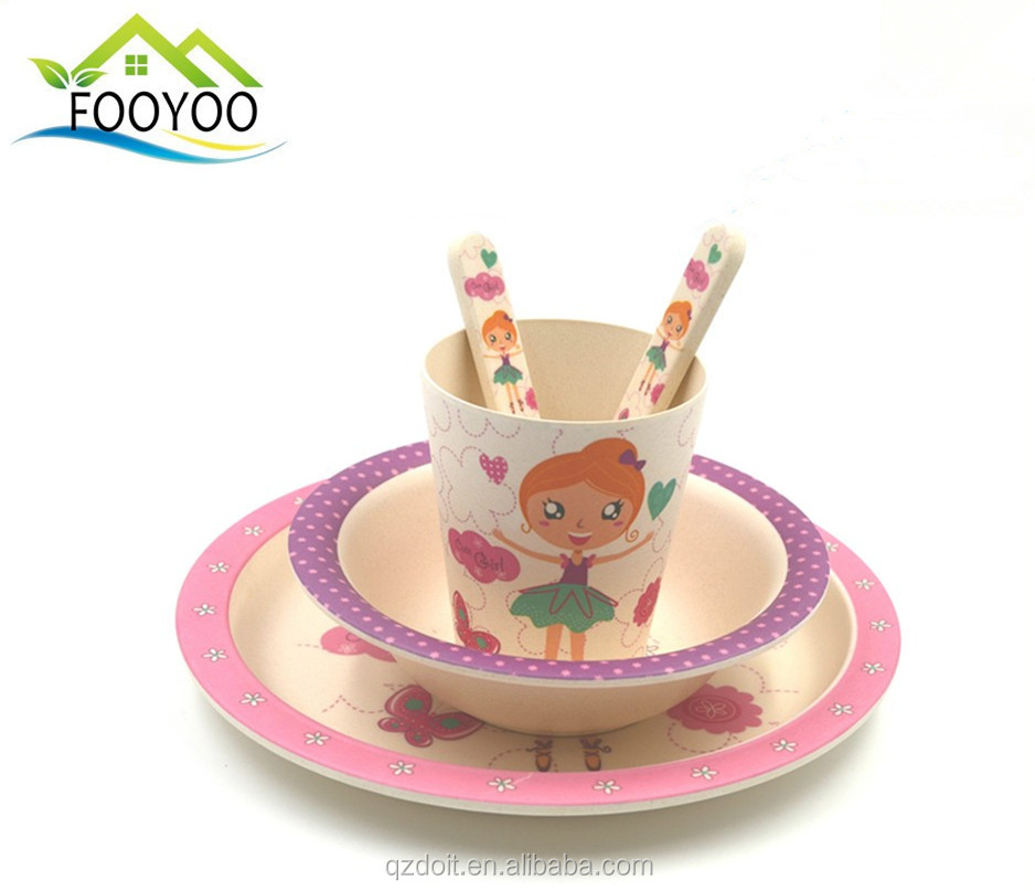 FOOYOO FY-6183 girl dinner set bamboo bowl baby bowl feeding plate fork cup spoon set