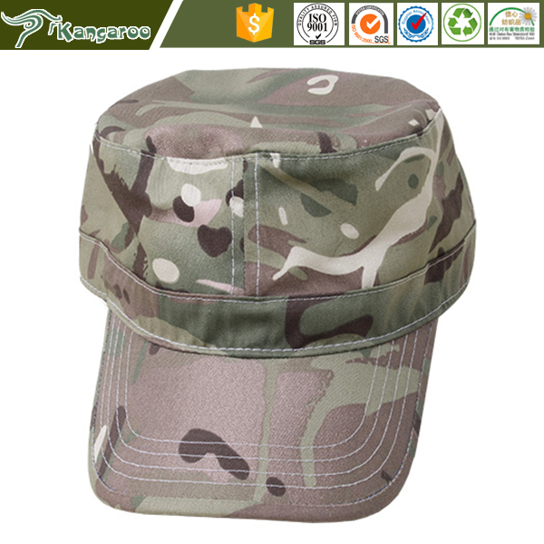 Military woodland camo army baseball cap with flag patch