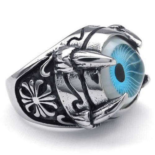 Women's Vintage Hot Sale Jewelry Stainless Steel Silvery Black Blue Delicate Dragon Claw Evil Eye Shape Fashion Ring sizes:8 -12