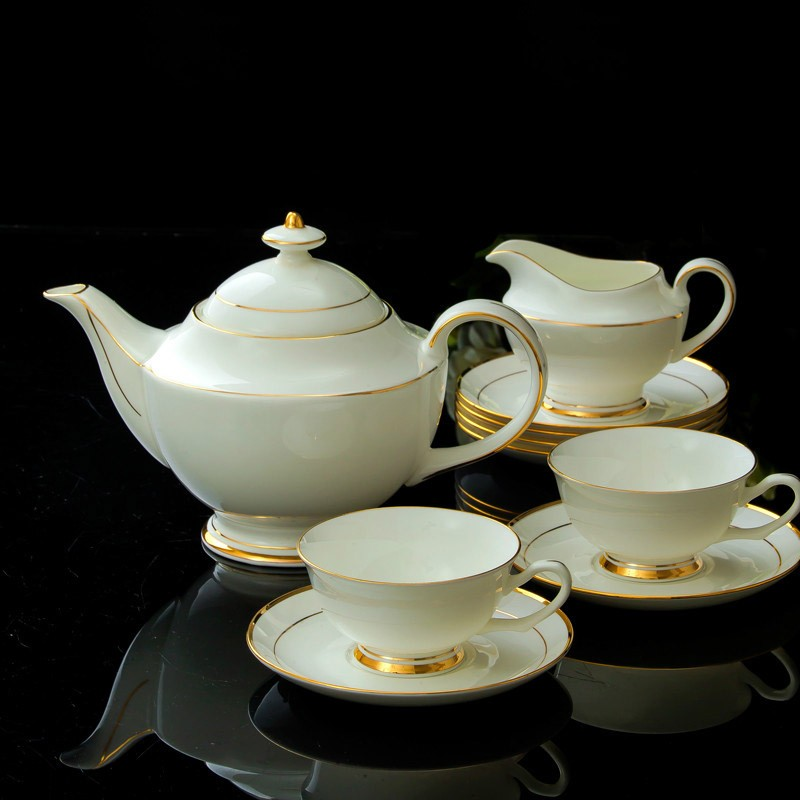15pcs Gold Line Handpaninted Fine Bone China Coffee and Tea Sets