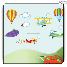 New! Cartoon Airplane and Hot Air Balloons Removable Wall sticker Vinyl Decals For Kids Room Boys Home Decoration Mural