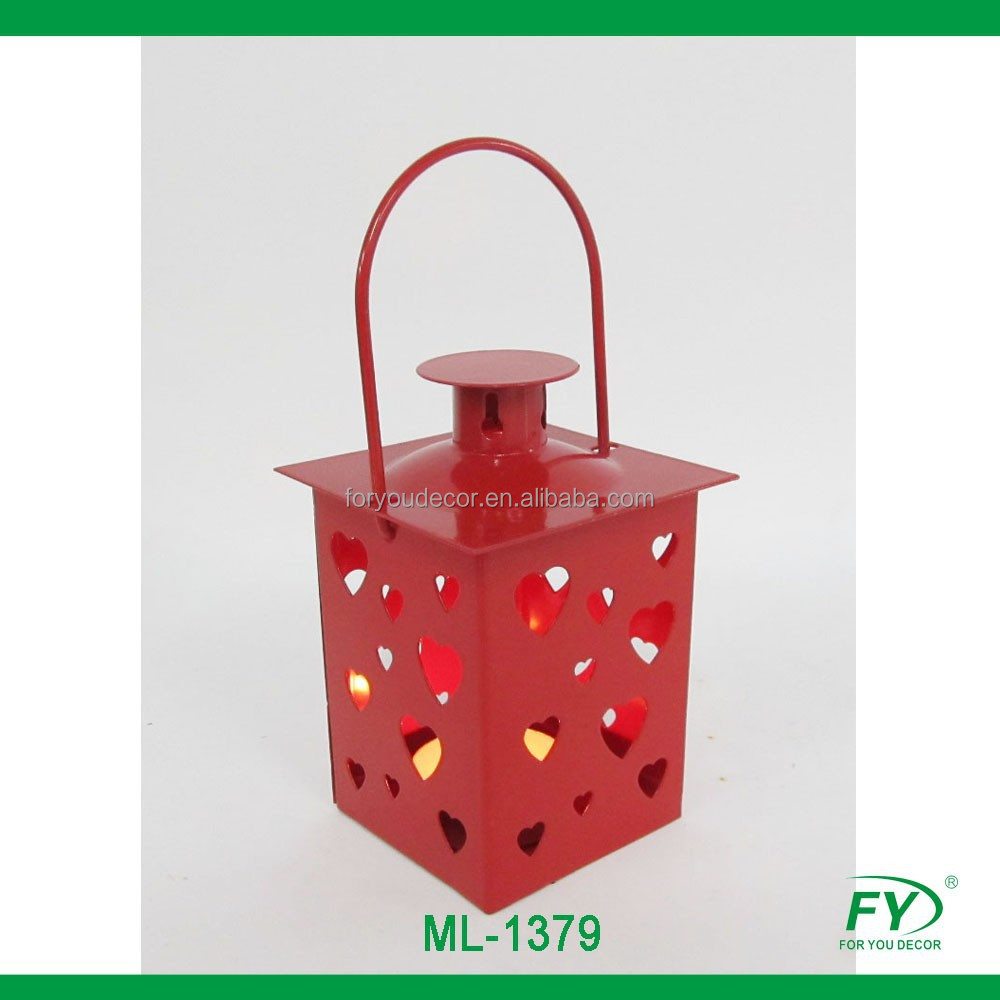 Small Mini Heart metal lantern for Velantina wedding decoration ML-1379
