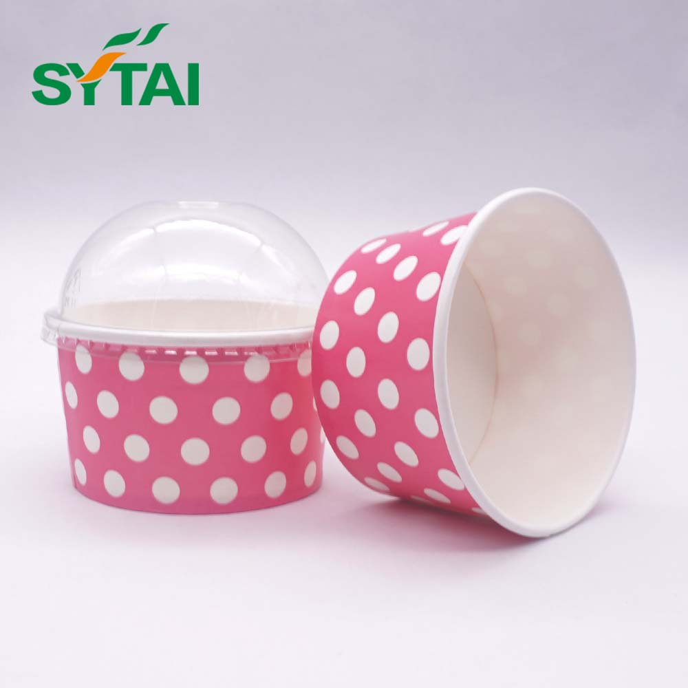 Disposable Custom Printed Paper Ice Cream Tub With PET Dome Lid