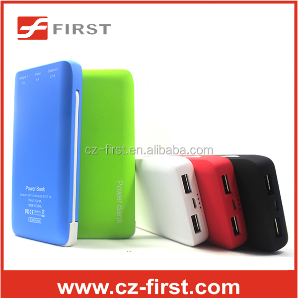 New design 6000mah power bank with usb and mini charging port