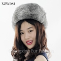 CX-C-26A Russian style natural grey rabbit fur hat
