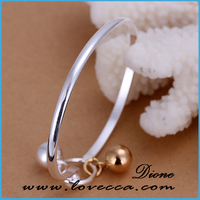 2015 Fashion copper Bangles New Design simple Alloy Bangles with small bell silver plating Wholesale