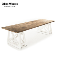 Antique Classic Design Wooden Top and Base Dining Table
