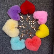 Sweet heart shaped mobile pendant ladies fur bag charm hairy keychain