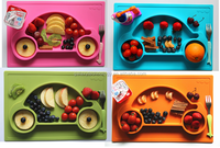 Washable Flexible Silicone Placemats,Kids Silicone placemat and plate FDA ,Happy Car placemat