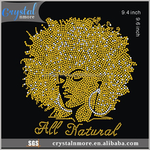 Afro Girl Rhinestone Heat Transfer Iron On Bling