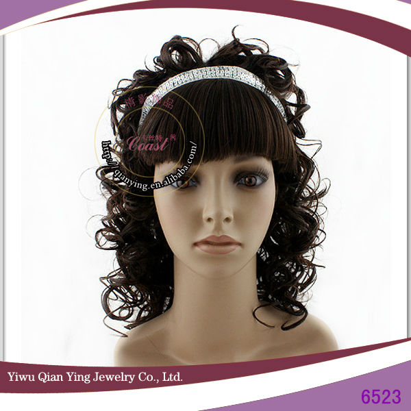 High temperature fiber ladies curly headband synthetic curly wigs