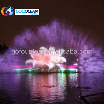 Big Colorful Program Contral Water Screen Movie Fountain