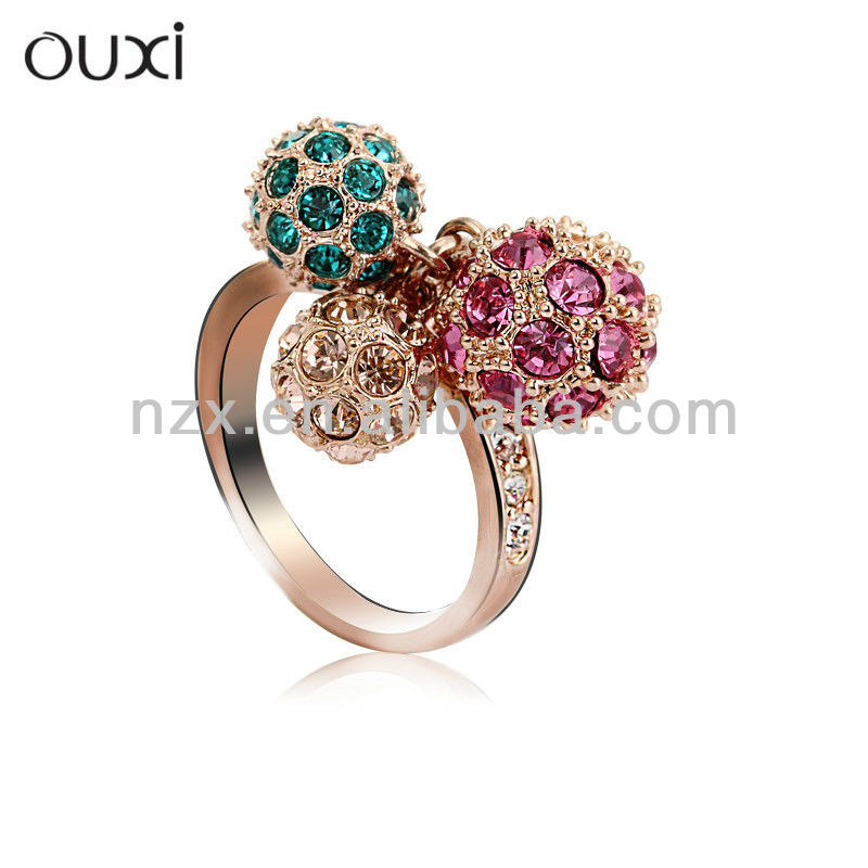 OUXI new design gold finger ring with Austrian Crystals 40037