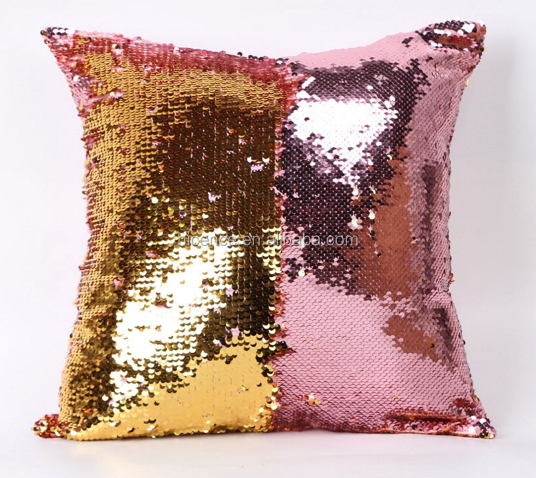 40*40CM mermaid reversible sequin pillow cushion Two Tone Color Changing Sequin Pillow