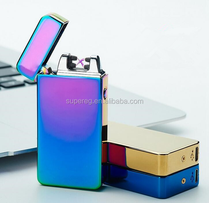Flank Sides Switch Charging Electronic Lighter , New Design USB Charged Dual Arc Metal Lighter