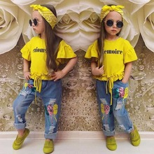 Fashion 2017 New Design High Quality Fashion Girls Boutique Clothing 2 pcs kids clothing wholesale / baby wear clothes