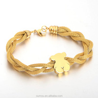 Stainless Steel Jewelry Making Supplies Gold Twisted Chain Bracelet With Bear