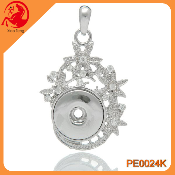 Diy Jewelry,Snap Pendant Jewelry Supplies,Snap Button Pendant With Flower