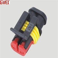 2 pin automotive electric connector waterproof male and female plug pa66 black