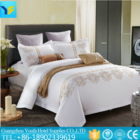 Luxury hotel hand embroidery applique work bed sheet