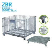 Metal Industrial Wire Baskets/Metal Folding Crate/Folding Stackable Cage