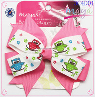 Pink and white hair bow with cute owl pattern(approved by BV)