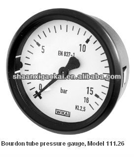 Bourdon tube pressure gauge Back mount, panel mounting series with spring clips Model 111.26