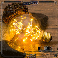 G95 3W Decorative LED Globe Light Bulb - Fireworks Starry Night - E26 E27 Standard Base - Vintage Edison Style Bulbs