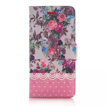 Hot selling products beauty flowers print design wallet flip leather mobile phone case for apple mobile phone iphone 6 6s