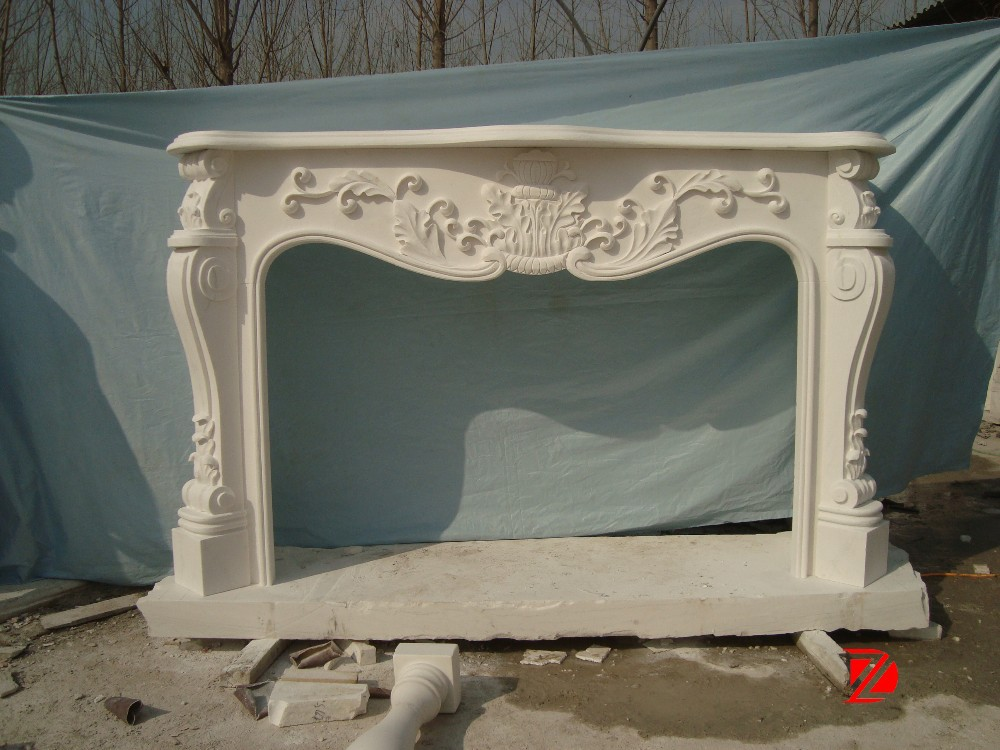 White marble decorating corner fireplace