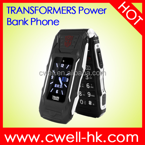 TRANS X10 1.77/2.8 Inch Dual Screen Big Battery Transformer Power Bank flip dual sim mobile phone