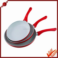High quality 3pcs red ceramic coating nonstick fry pan for pancake