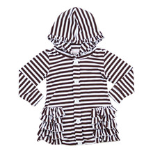 Simple Striped Design Kids Coats Spring/Autumn Wholesale Children's Boutique Clothing Cotton Ruffle Blouses for Girls