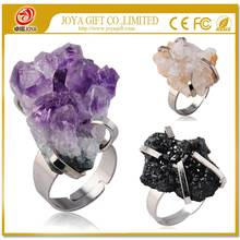 Natural Real Rough Drusy Black Agate Crystal Amethyst Rings Gemstone Ring with adjustable metal women finger jewelry