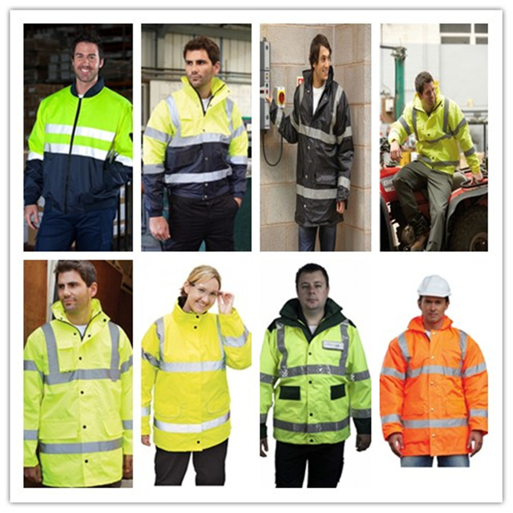 EN20471 ORANGE 300D Oxford PU COATING 100% waterproof reflective Construction work clothes