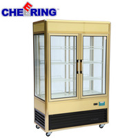 portable gold cake display chiller for cake shop