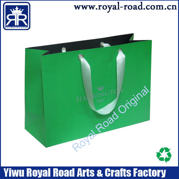 Full bright wedding dress paper shopping bag with ribbon handle