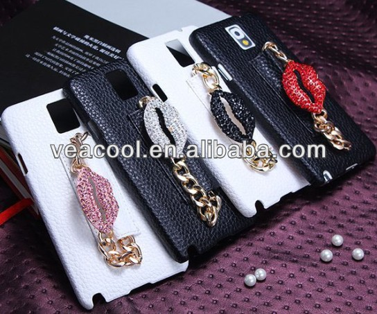 Diamond Hand Strap Hard Back Leather Case Cover for Samsung Galaxy Note 3 N9000 case