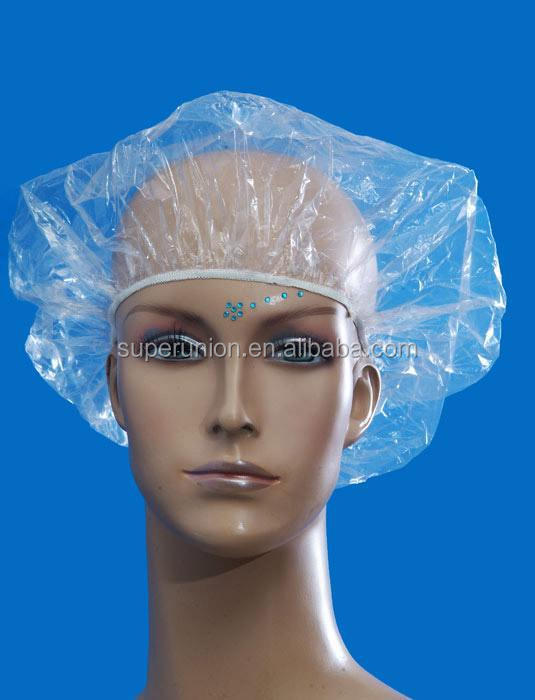 high grade PE disposable printed bouffant/clip transparent shower cap making