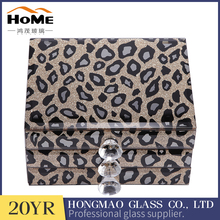 Leopard pattern crystal beveled glass jewelry box