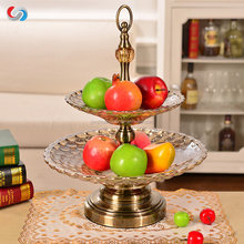 European Style Double-deck Glass Serving Plates Fruit Dishes & Plates For Decorative
