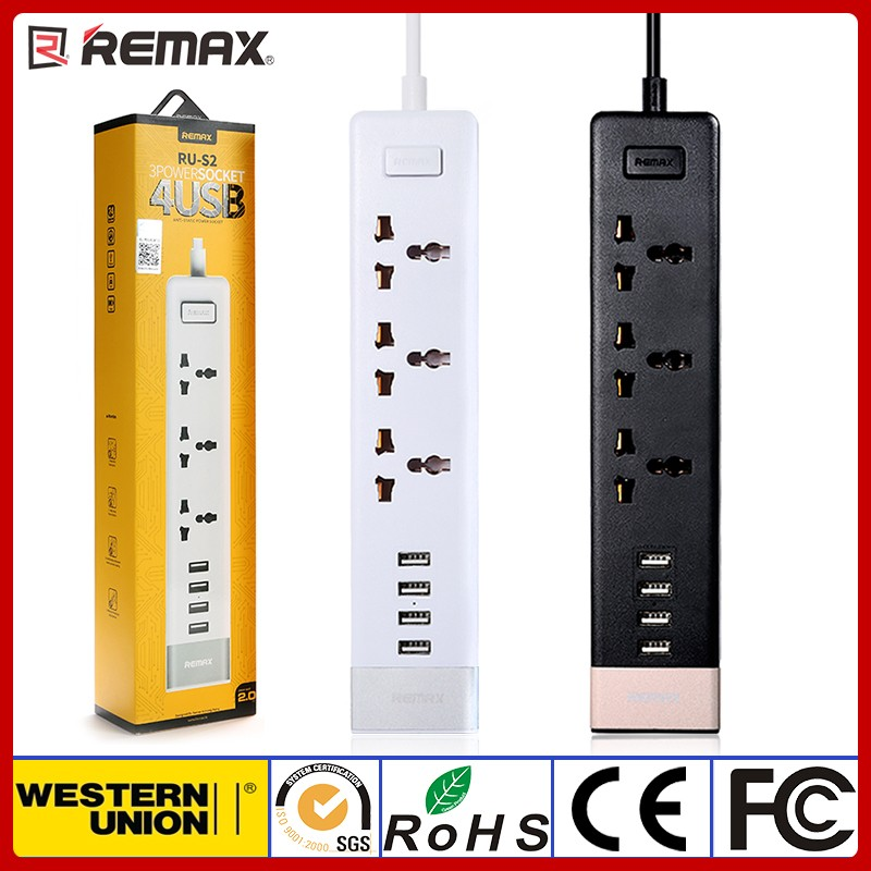 Remax Business Extension Power Socket with 3 Plugs and 4 USB Charger