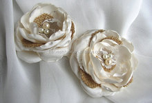 Vintage White Lace Burlap Flowers For Wedding,New Style Fabric Flower Hair Pins