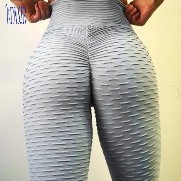 Bubble Butt High Waist Textured Leggings Workout Yoga Gym Pants for Women