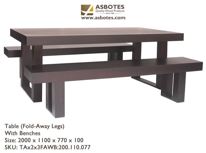 Table & Benches with fold away legs