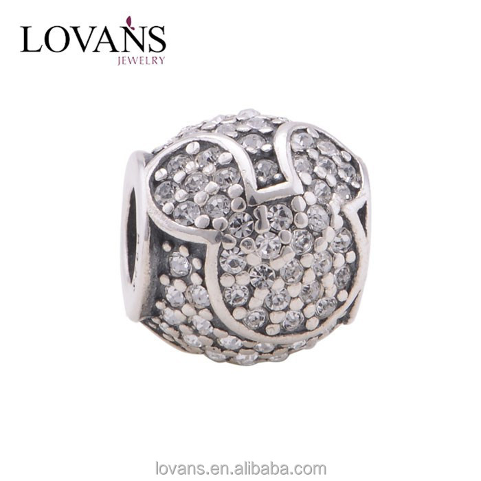 Mirco Pave Jewelry Silver Micro Pave Beads Silver Beads Globalwin YZ688