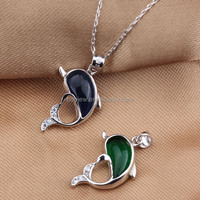 Fashion jewelry for women 925 sterling silver cute animal dolphin shape pendant with green/blue stone